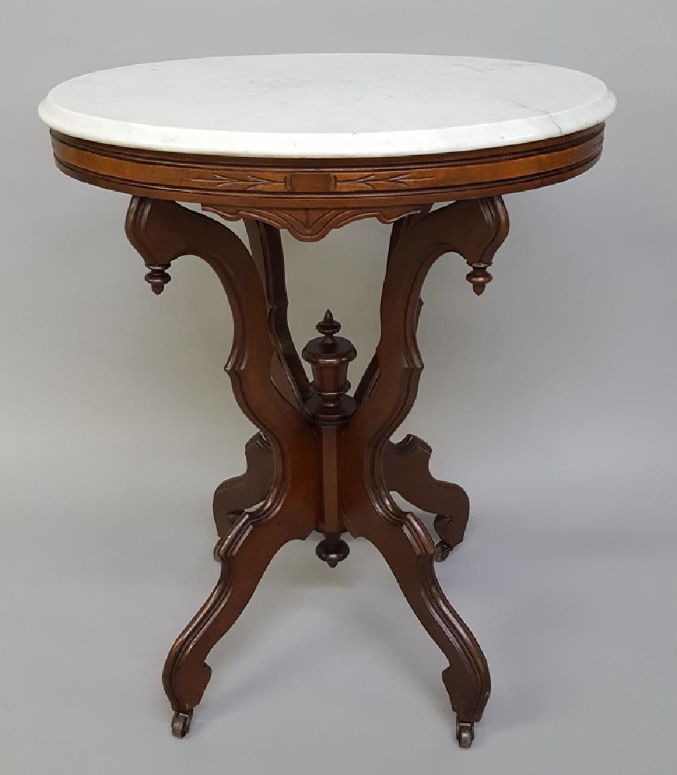 Circa 1870's Burl Walnut Oval Marble Top Table - Very - 2