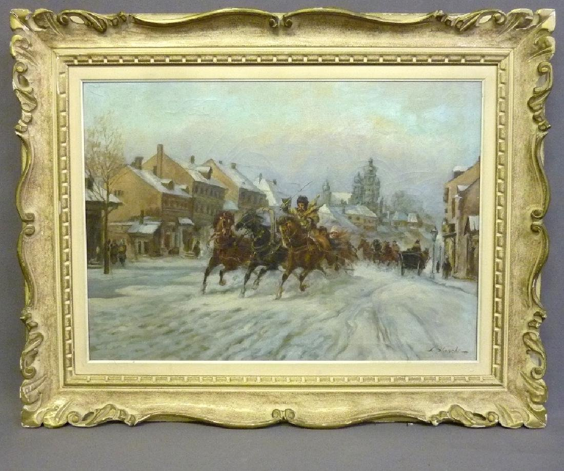 Oil on Canvas signed L. Blanchi  - Denmark (Horses