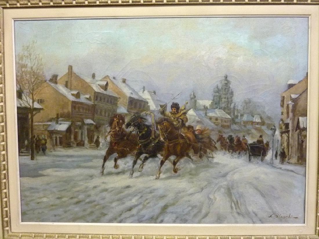 Oil on Canvas signed L. Blanchi  - Denmark (Horses - 2