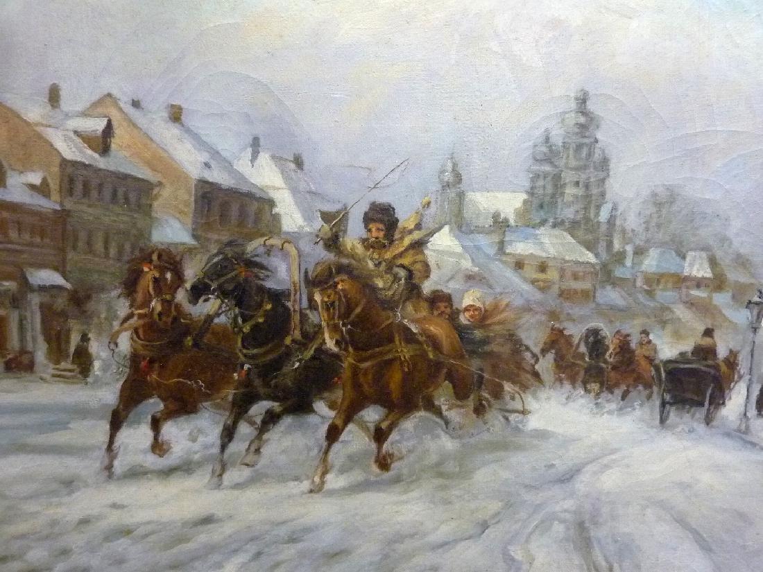 Oil on Canvas signed L. Blanchi  - Denmark (Horses - 3