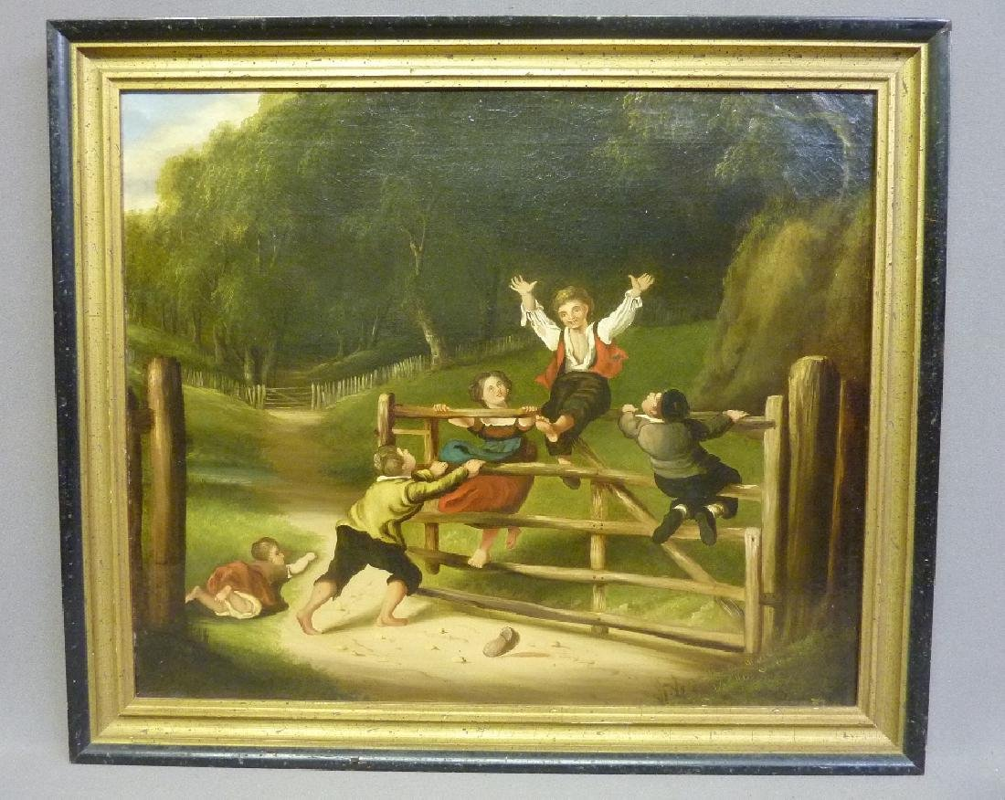 19th Century Oil on Canvas (Children Playing on Fence)