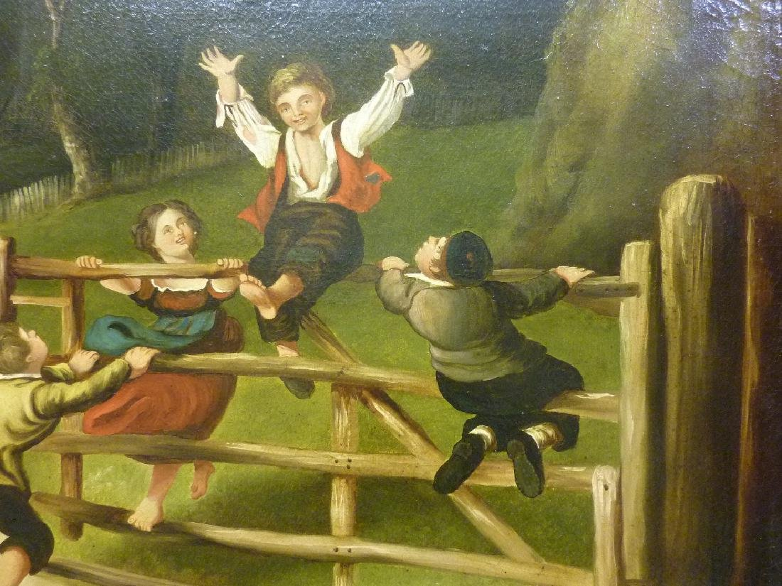 19th Century Oil on Canvas (Children Playing on Fence) - 2