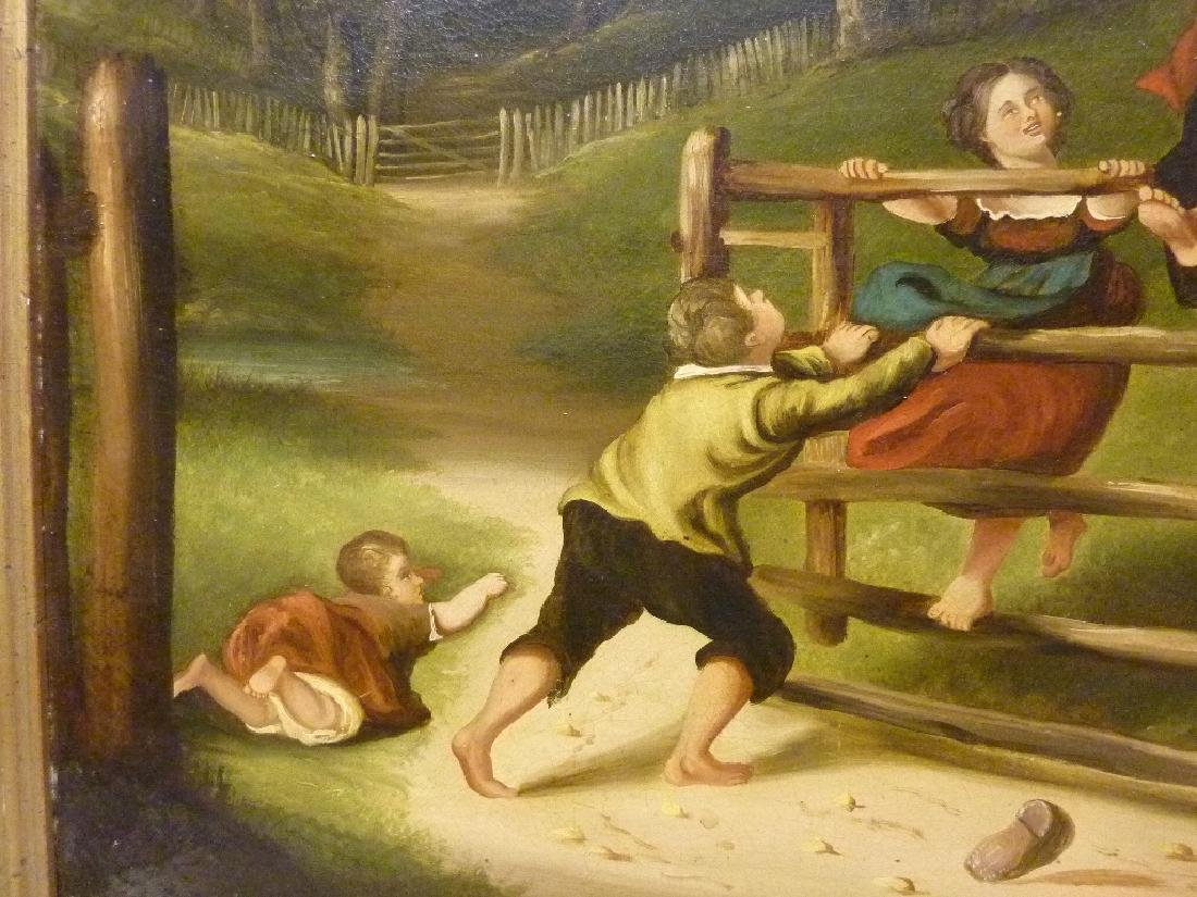 19th Century Oil on Canvas (Children Playing on Fence) - 3