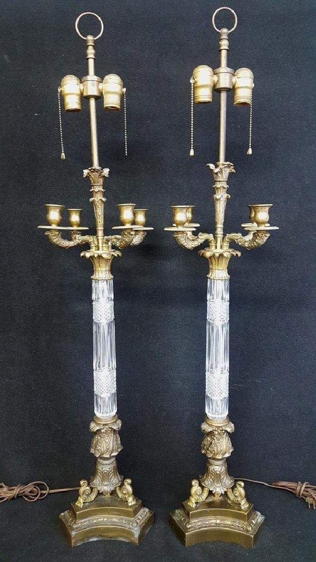 Pair of Empire-Style Brass and Cut Crystal Lamps -