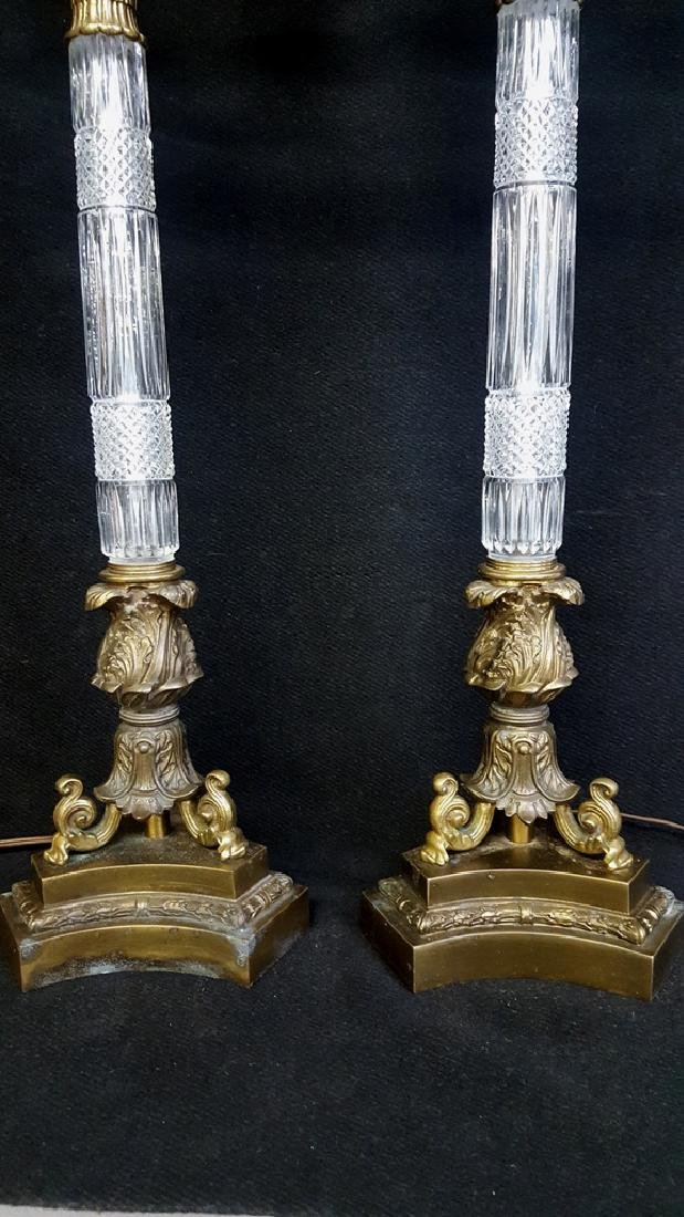 Pair of Empire-Style Brass and Cut Crystal Lamps - - 3
