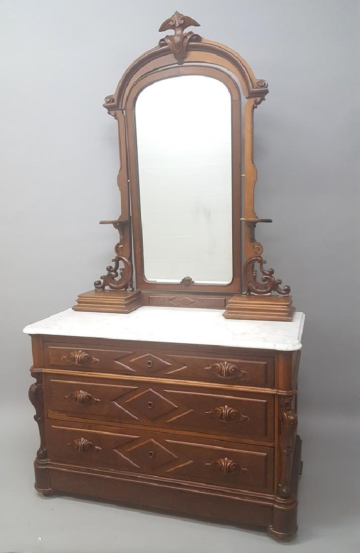 Circa 1870's Walnut Marble Top Dresser with arch top