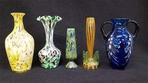 5 Victorian Spatterware Art Glass Pieces  All in good