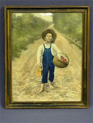 1: PRINT OF YOUNG BOY HIKING ON ROAD WTH APPLES & LUNCH