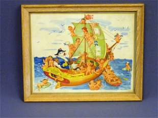 2: PRINT OF 26 BABIES SAILING WITH GOOSE CAPTAIN SIGNED