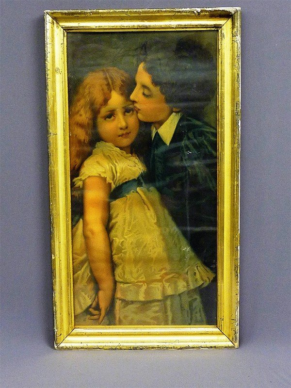 4: EARLY COLOR PRINT OF YOUNG BOY KISSING GIRL IN GOLD