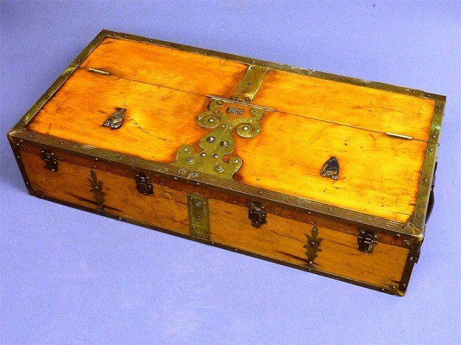 8: ORNATE BRASS DECORATED TOOL BOX SIGNED (J.E. NISSEN