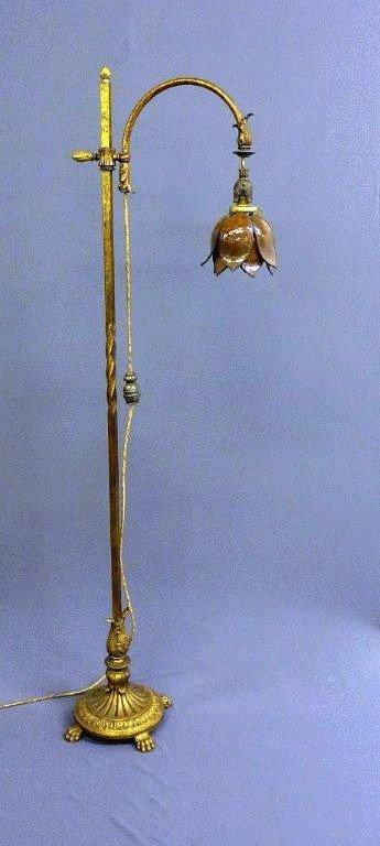 16: HIGH QUALITY CAST METAL FLOOR LAMP W/CLAW FEET & OL