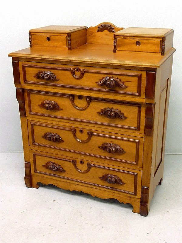 18: BUTTERNUT & WALNUT CARVED PULL CHEST W/HANKIE BOXES