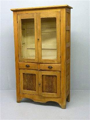 19: OAK KITCHEN CUPBOARD W/GLASS DOORS & DECORATED DESI