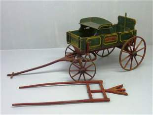 20: ANTIQUE GOAT CART SIGNED ( HARVERD) W/ORG. GREEN &