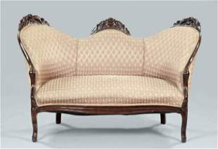 22: CUTE AMERICAN ROCOCO WALNUT FLORAL CARVED SETTEE ON