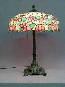 129: ANTIQUE LEADED GLASS LAMP BY (CHICAGO MOSAIC) FROM