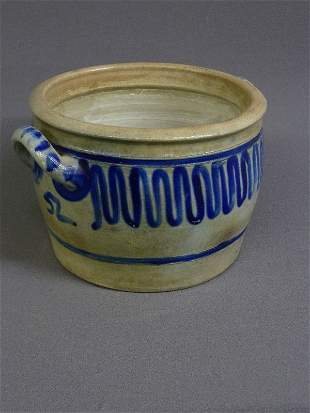 """6: EARLY BLUE DECORATED 2 HANDLE CROCK, H 7"""", DIA 11 1/"""