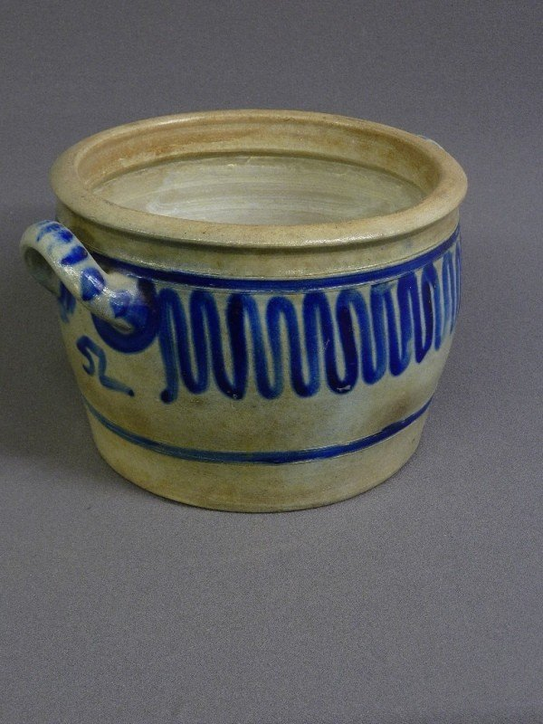 "6: EARLY BLUE DECORATED 2 HANDLE CROCK, H 7"", DIA 11 1/"