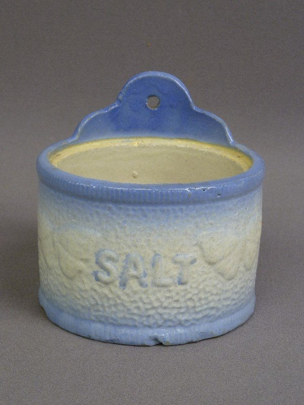 7: AMERICAN CROCKERY BLUE DECORATED SALT BOX,  Circa 18