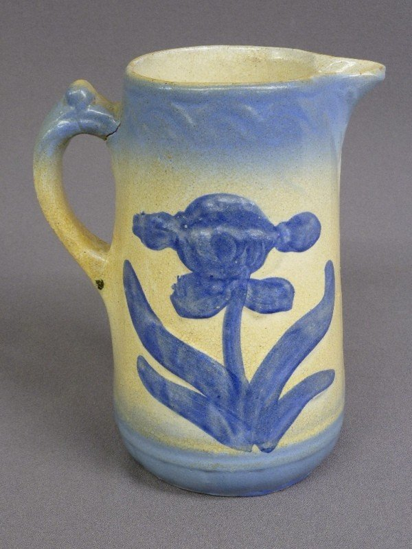 8: BLUE & CREAM SOFT PASTE PORCELAIN PITCHER with flowe