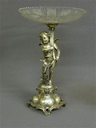 9: BRILLIANT CUT GLASS COMPOTE ON SILVERPLATE CUPID  si