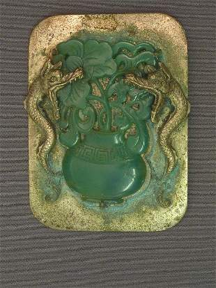 14: CHINESE SILVER PLATE & GREEN JADE ANTIQUE BROOCH wi