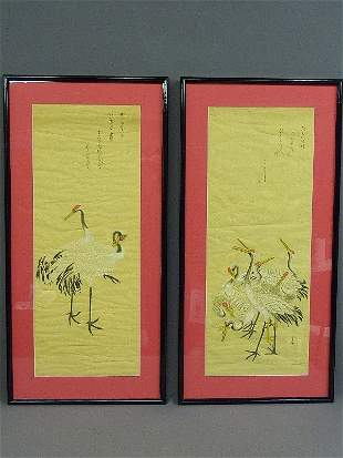 20: PAIR OF SILK HAND DECORATED OLD SCROLLS, newer fram
