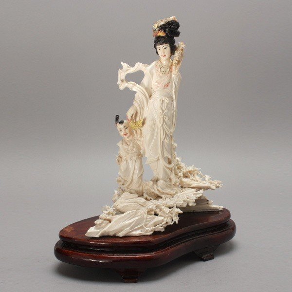 """82: A CARVED & PAINTED IVORY FIGURAL GROUP, Hgt.10 1/2"""""""