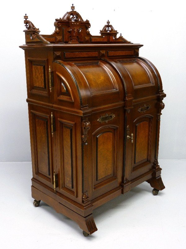 "137: SIGNED ""WOOTON"" WALNUT CABINET SECRETARY DESK date"