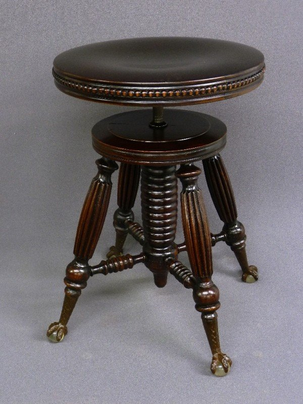 AMERICAN GLASS CLAW & BALL SWIVEL PIANO STOOL si