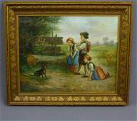 314 ANTIQUE OIL ON CANVAS OF 3 CHILDREN PLAYING WITH D