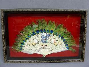 1: Framed Hand Painted Chinese Mother of Pearl, Silk &