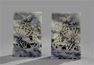 2: Pair of Chinese Soapstone bookends done in gray -vei