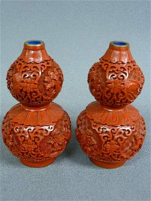 "4: PAIR OF CINNABAR LACQUER VASES - Hgt 6"" Dia. 3 1/4"""
