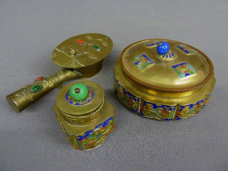 7: 3 piceces CHAMPLEVE Signed China including Round Box