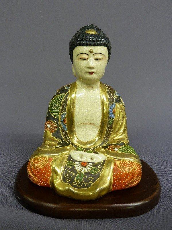 "8: 8 1/2"" PORCELAIN PAINT DECORATED BUDDHA - good condi"