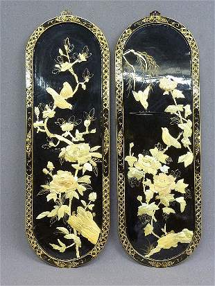 9: PAIR CARVED MOTHER OF PEARL CHINESE DECORATED OVAL H