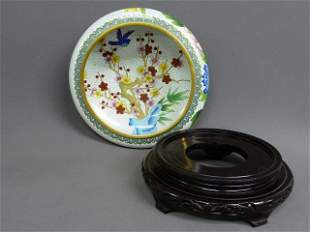 14: LARGE CLOISONNE BOWL ON STAND WITH BIRDS AND FLOWER
