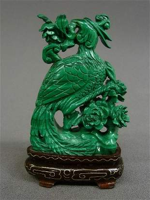17: CHINESE HAND CARVED MALACHITE FIGURE ON BIRD, H 4 3