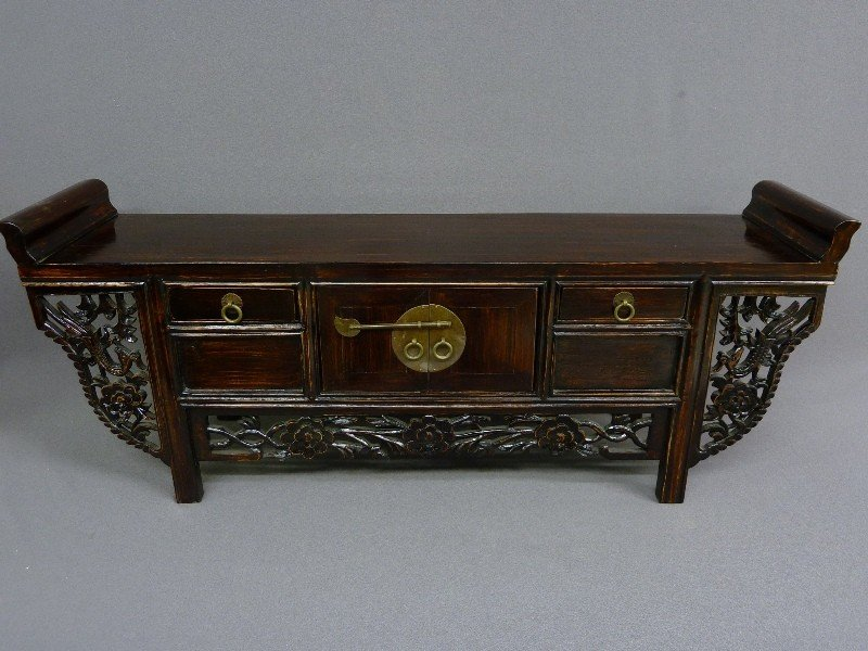 20: Kuang Hsu Carved & Stained wood Chest/Altar Table w