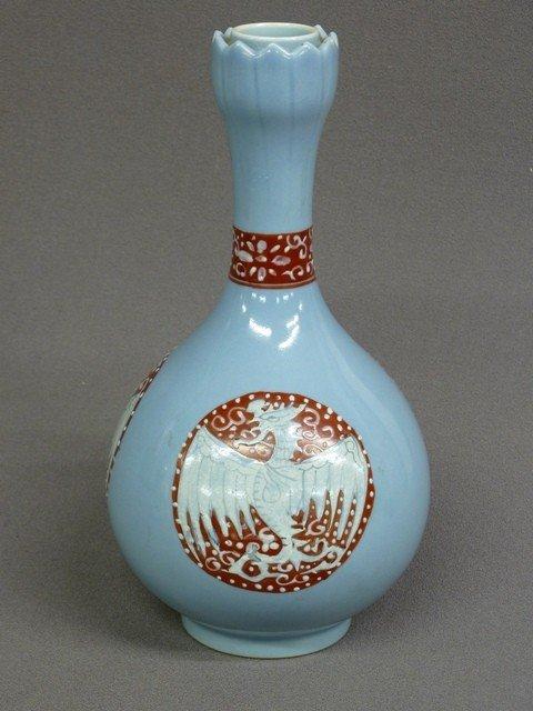 23: CHINESE BLUE & WINE PORCELAIN VASE WITH WINGED BIRD