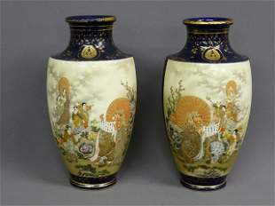 24: PAIR OF SIGNED ASIAN PORCELAIN HIGHLY DECORATED SCE