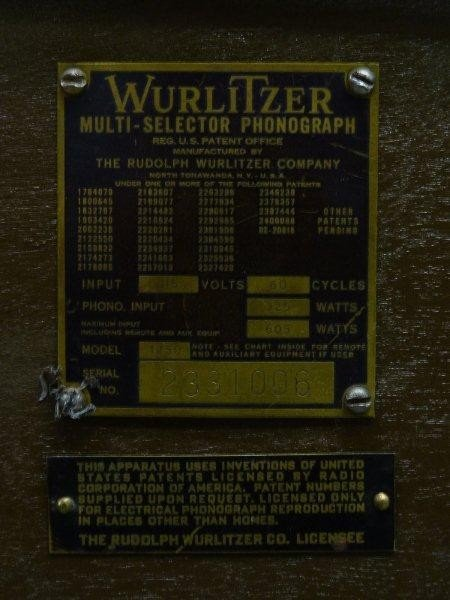 265: 1950's Signed WURLITZER Model 1250 Jukebox, Hgt 60 - 5