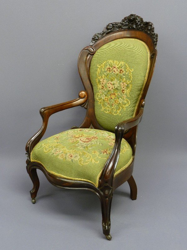 309: JOHN HENRY BELTER LAMINATED ROSEWOOD ARM CHAIR - H