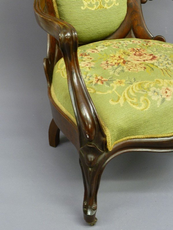 309: JOHN HENRY BELTER LAMINATED ROSEWOOD ARM CHAIR - H - 6