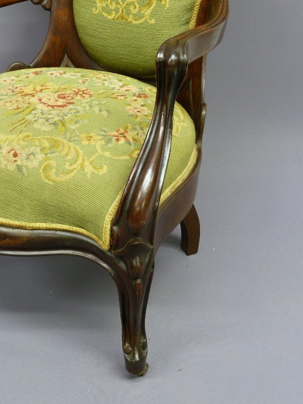 309: JOHN HENRY BELTER LAMINATED ROSEWOOD ARM CHAIR - H - 7