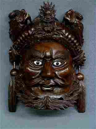 """5: 10"""" CHINESE WELL CARVED WOOD MASK OF MAN & DRAGONS w"""