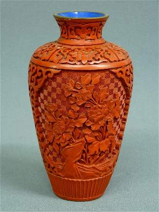 6:  CHINESE CINNABAR LACQUER VASE with FLORAL DESIGN -