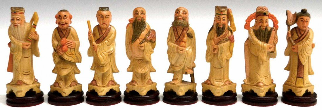 8: 8) Carved wood polychrome depiction of Chinese eight